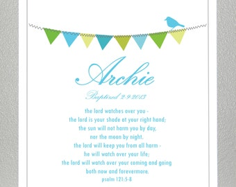 Baptism Gift ( personalized with name and date ) - Bible Verse - Psalm 121: 5-8 - Print