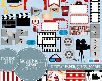 Movie Night Clipart, Cinema themed 36 PNGs, 5 Movie Digital Paper JPGs, Commercial Use, Hollywood clipart, movie clipart, film reel clip art