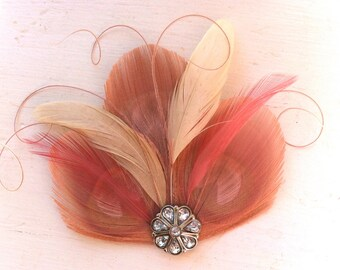 CICILY Blush Pink, Ivory, and Dusty Rose Peacock Feather Hair Clip, Feather Fascinator