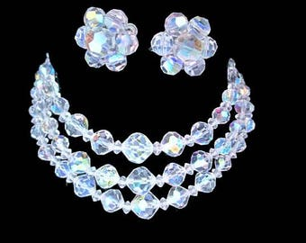 Aurora Borealis Crystal Set/Tripple Strand Rhinestone Crystal Choker/ Screwback Earrings/Bridal Jewelry/ Wedding Set/ Bridesmaid Gift