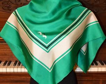 Emerald green silk scarf