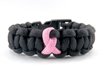 Black and Pink Ribbon Breast Cancer Awareness Paracord Bracelet