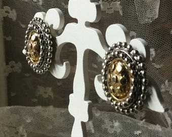 Rustic Etruscan Styled Mixed Metal Oval Earrings Unsigned Clip On Circa 1980's 1990's Beaded Edges Silver Tone Gold Tone Almost Brutalist