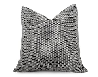 Gray Throw Pillow, Couch Pillow, Textured Pillow, Tweed Pillows, Decorative Pillows, Black Cream, Silver, Neutral Cushion Covers, 20x20, NEW