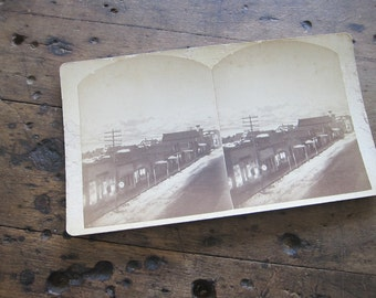Stereoscope Cards Stereoviews by Charles Emery 1880, Moonlight View Main St Silver Cliff Colorado 3d Photos