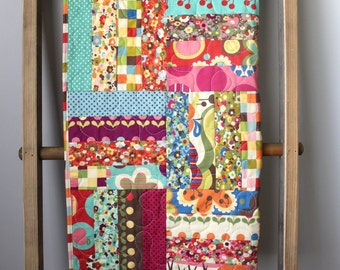 Modern Gender Neutral Baby Quilt- Avant Garden By Momo- Red, Teal, Pink, Green- Homemade Baby Quilt- Baby Girl Quilt- Baby Boy Quilt