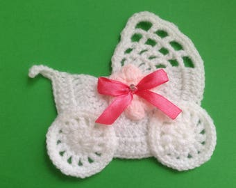 Crochet stroller,pushchair applique,embellishment,motif,sewing,for baby blankets,craft,pale pink