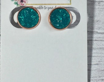 12mm Teal Druzy Earrings
