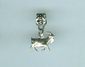 Sterling NANNY GOAT Bead Charm for for  All Name Brand Add a Bead Charm Bracelets - 3D