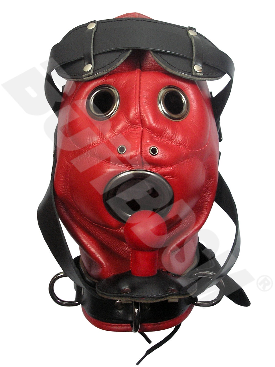the loon bdsm mask locking leather hood with pure silicone
