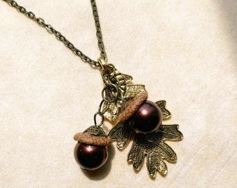 Twin Acorn& Leaf Pendant. Nature Statement. Natural Oak Tree Fruit. Bronze Pearl Beads. Chocolate Brown- Oak Fruits by enchantedbeas on Etsy