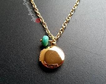 Tiny Gold Locket Turquoise Bead Necklace Tiny Round Locket Minimalist Necklace Boho Necklace Gold Tiny Locket Necklace Mother's Day Gift