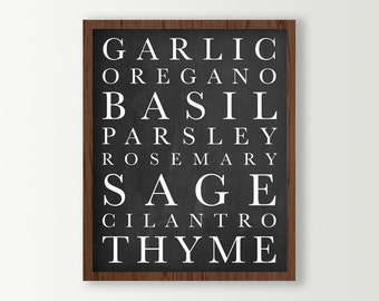 Kitchen Wall Decor - Herbs Kitchen Signs - Kitchen Art Print - Basil Rosemary Garlic Parsley Black & White Kitchen Subway Art Chalkboard