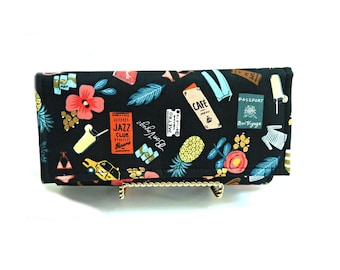 Womens wallet travel print, womens fabric wallet, rifle paper co wallet, ready to ship