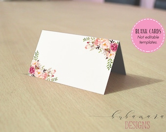 Floral Blank Place Card Folded Tent Cards Foldable One Side Cards Wedding Reception Card Pink Peonies Blank Escort Seating Card - WS014
