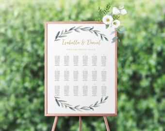 Personalized Printable Wedding Reception Seating Chart, Wedding Seating Chart Poster, Printable, Customized For You, Wedding Printable Sign