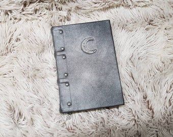Handmade leather notebook Silver Moon, grimoire,  book of spells