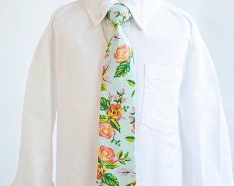 Necktie, Neckties, Boys Tie, Baby Tie, Baby Necktie, Wedding Ties, Ring Bearer, Floral Tie, Mint Ties, Rifle Paper Co - Jardin De Paris Mint