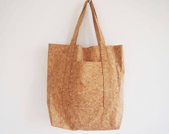 Cork Tote Bag , Shopper bag, Large tote bag, Cork tore bag, Casual tote, Everyday bag natural unique bag