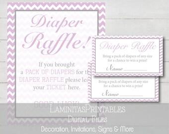 Baby shower, Diaper raffle, diaper raffle ticket, baby shower raffle, baby shower games, baby shower game, raffle tickets, lavender BS05