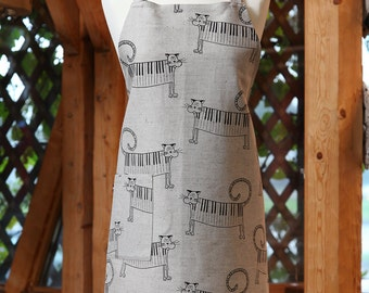Linen Cotton Apron Piano Cats, Funny Kitchen Apron, Cute Linen Apron, Cooking Apron