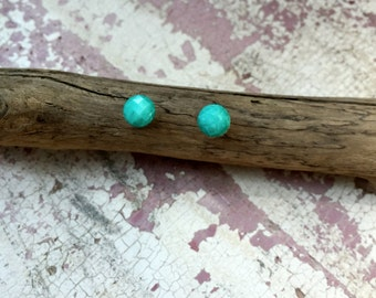 Turquoise Faceted Dot Post Earrings