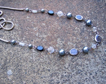 Eco-Friendly Statement Necklace - Night Sky - Recycled Vintage Snake Chain and Glass Beads, Pearls and Crystals in Black, Grey and Clear