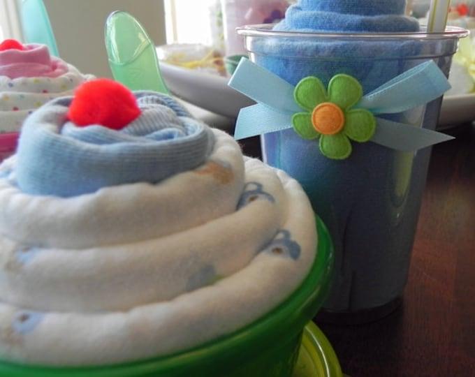 Baby Gift Combo - Receiving Blanket Milkshake and Blanket & Bodysuit Sundae - baby blanket Bodysuit baby shower gift cute unique