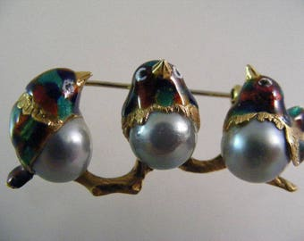 Antique Italian 18K Yellow Gold Art Noveau Enameled Bird Pin with Baroque Silver Pearls....Lot 5459