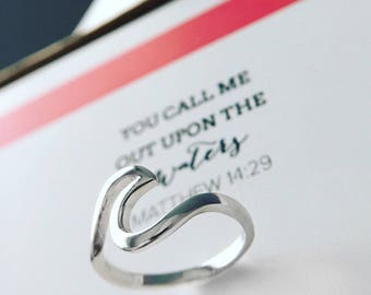 Upon the Waters Ring sterling ring wave beachy jewelry faith ring Hillsong Ministry