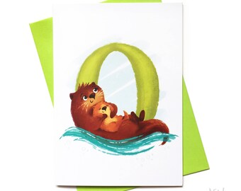 Illustrated - Alphabet Greeting Card - O is for Otters
