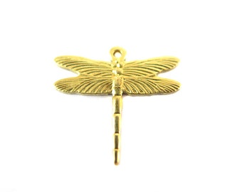 Small Brass Dragonfly Charms (8X) (M824-A)