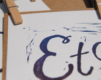 Etc. | Blue and Purple Ombre | Square on white | Handpulled Print | Framed or unframed