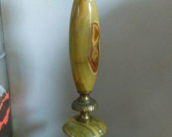 Vintage retro mid century green and orange onyx & goldtone table lamp Hollywood regency