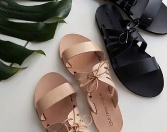 Leather Greek Sandals, Leather sandals,  Greek sandals. Women's Kamares slides.  Custom colours.  FREE SHIPPING