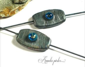 Unique Handmade lampwork glass beads connectors, pairs, jewelry supplies, metallic black, SRA, Artisan