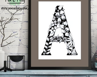 PRINTABLE Monogram Letter A Digital Print Hand Drawn Pen and Ink