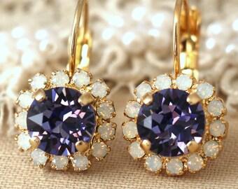 Purple Earrings, Purple Drop Earrings, Ametyst Earrings, Swarovski Violet Crystal Earrings, Opal Purple Earrings, Christmas Gift For Her