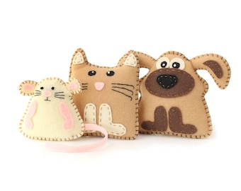 Kitten Puppy & Mouse Mini Pattern, Stuffed Kitten Patten, Plush Puppy Pattern, Felt Kitten, Felt Puppy, Felt Mouse