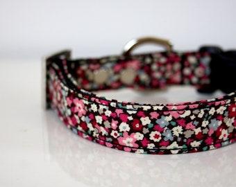 Spring Flower garden Dog Collar - black, pink, wine red - Silver