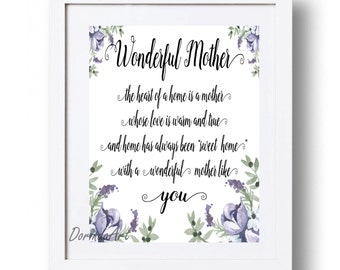 Mothers day gift Mothers day Sign Printable Poem for Mom print Printable gift for Mum Purple watercolor flowers Mother's day quote Wall art