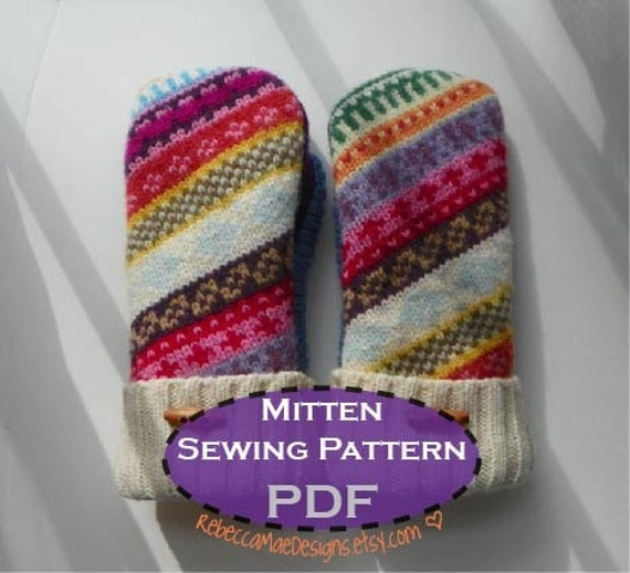 PDF MITTEN PATTERN sewing diy pattern tutorial for upcycled