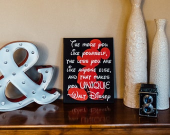 Be unique sign - disney sign - mickey mouse decor - Walt Disney quote - Home decor sign - Disney wall art - Be yourself sign