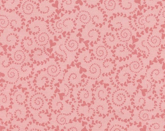 Swirly Hearts - 1 yard Cut - Timeless Treasures - Cotton Fabric - Quilting Fabric - Heart Fabric