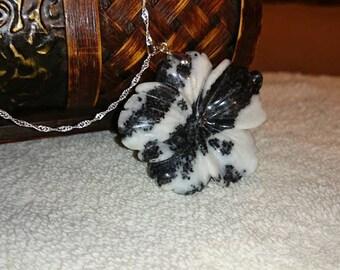 Zebra Jasper Flower Pendant
