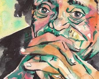 Kurt Vonnegut - Watercolor and Ink Portrait of the Author by Jen Tracy - Original Painting of Vonnegut