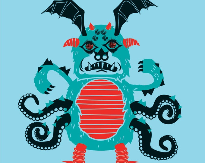 monster vinyl wall decal, DIY, make your own monster sticker art, jabberwocky art