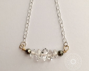 Herkimer Diamond Necklace with Faceted Pyrite Stones