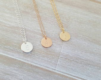 Single Initial disc charm necklace | Sterling silver | gold filled | rose gold filled | 30th 21st 25th | bridesmaid | engraved hand stamped