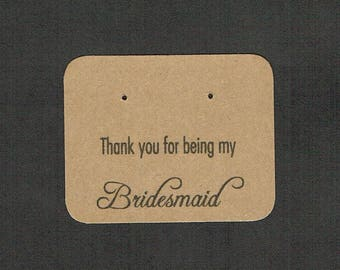 Post Earring Cards, Bridesmaid Card, Set of 30, Thank You Card, Earring Card, Jewelry Card